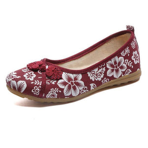 Vintage Embroidered Women Flats Flower Slip On Cotton Fabric Linen Comfortable Old Peking Ballerina Flat Shoes Sapato Feminino