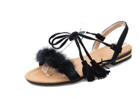 COOTELILI Real Fur Ankle Strap Gladiator Sandals Women Flats 2018 Summer Tassel Shoes Ladies Wedding Beach Sandals BOHEMIAN