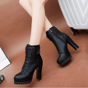 2018 Womens Ankle Boots Sexy Platform Pumps Winter Fur Black Heeled Shoes Lady Fashion New aa0589