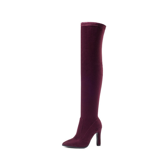 QUTAA 2019 Women Over The Knee High Boots Slip on Winter Shoes Thin High Heel Pointed Toe All Match Women Boots Size 34-43
