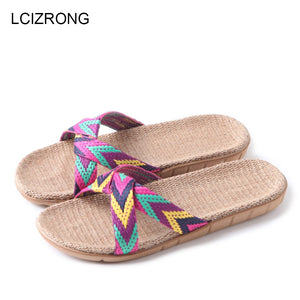 LCIZRONG Summer 13 Colors Flax Home Slippers Women 35-45 Large Size Slapping Beach Flip Flops Non-slip Unisex Family Slippers