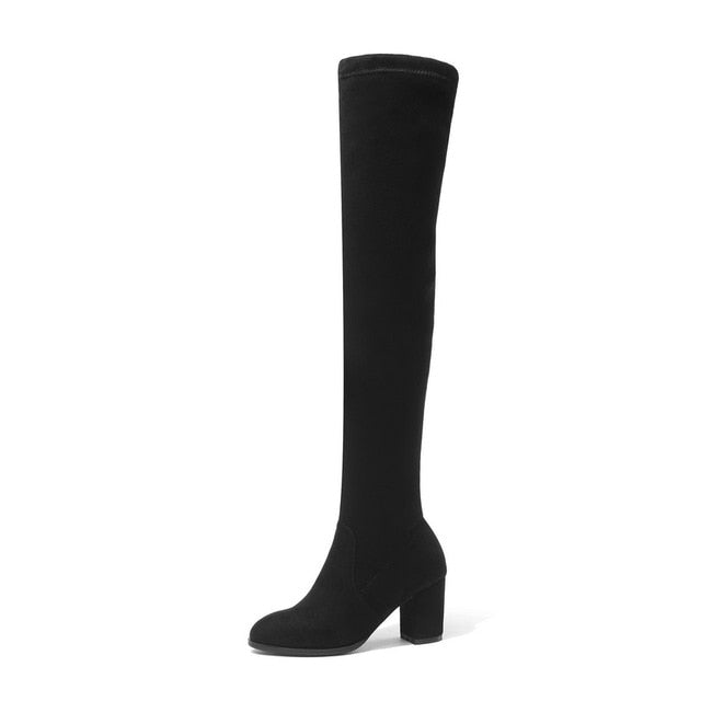 QUTAA 2019 Women Over The Knee High Boots Square High Heel Women Shoes Platform Winter All Match Sexy Women Boots Size 34-43