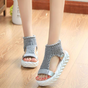 Comfortable Casual Wool Women's Summer Sandals 2018 New Arrival Knit Platform Shoes Candy Color Wedge Sandalias