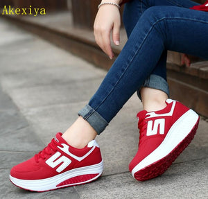 Akexiya Women Breathable Mesh Lace Up Casual Platforms Shoes Height Increasing Rocking Shoes Sports Wedge Sneakers