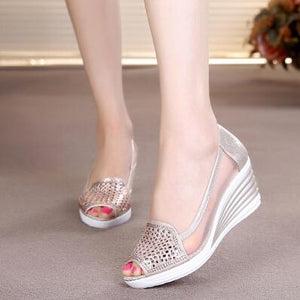 2018 Womens Wedges Shoes Peep Toe Heels Summer Mesh Shoes Lady aa0211