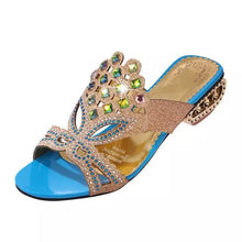 Lucyever Women Summer Open Toe Chunky Heel Sandals Fashion Bling Rhinestones Beach Flip Flops Slip On Outside Slides Shoes Woman