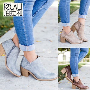 POLALI 2018 Spring Autumn Women Butterfly-knot Chelsea Boots Slip-On Med High Heels Pointed Toe Shoes Woman big size 43