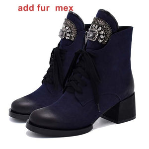 WETKISS Woman Winter Boots Ankle Boot Female Crystal Lace up Female Booties Platform Heels High Plush Footwear Women Boot 2019