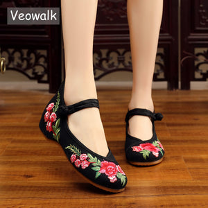 Veowalk Women's Vintage Embroidered Canvas Ballet Flats Ladies Comfortable Chinese Ballerinas Women Embroidery Shoes