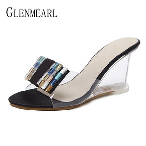 Brand Women Slippers High Heels Shoes Women Wedges Sandals Shoes Summer Shoes Slippers Female Mules Party Platform Shoes high DE