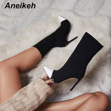 Aneikeh Women Elastic Socks Ankle Boots With Slip-On Thin Heels Women Short Boots Fashion Sexy Pointed Toe Autumn Chelsea Boots