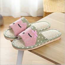 KESMALL 2018 New Flax Home Slippers Indoor Lovers Shoes Silent Cartoon Cat Slippers Summer Women Sandals Linen Slippers WS133