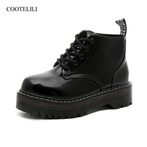 COOTELILI Plus Size Platform Boots Patent Leather Shoes Women Autumn Winter Ankle Boots For Women Gladiator Shoes Ladies 35-40
