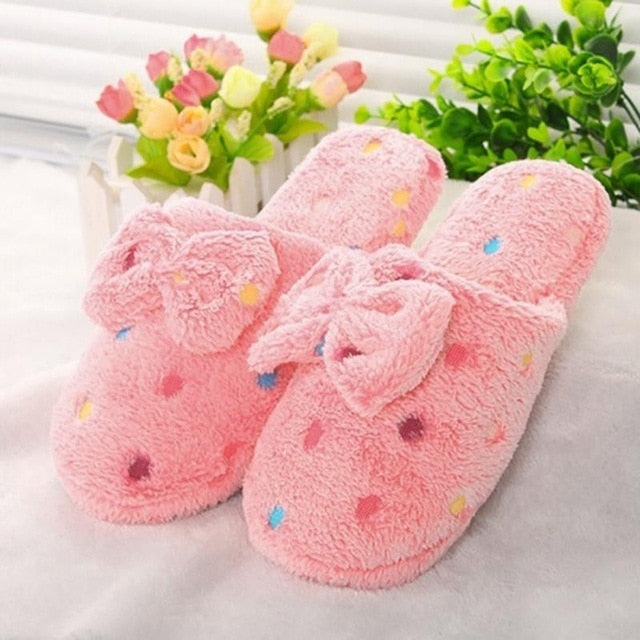 Super Warm Kawaii Cute Lovely Women Bowknot Slippers Bedroom House Shoes Slippers Pink/ Sky Blue/ Beige