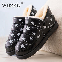 WDZKN 2018 Women Winter Snow Boots Botas Femininas Flat Waterproof Warm Thick Plush Ankle Boots For Women Winter Platform Shoes