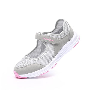 EOFK New Women Flats Shoes Women's Flat Mary Jane Female Ladies Mesh Fabric Breathable Gray Casual Comfortable Shoes Woman