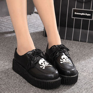 Creepers shoes woman plus size 35-41 women Shoes plus size ladies platform shoes 2018 Women Flats Female shoes laces