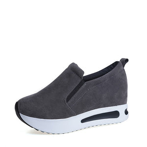 MCCKLE Women Shoes Platform Creepers Female Slip On Moccasins Suede Elastic Band  Sewing Casual Autumn Shoe Ladies Footwear