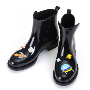 Rouroliu Women PVC Ankle Rain Boots Cartoon Animals Waterproof Water Shoes Woman Rainboots Wellies Slip-on TR114