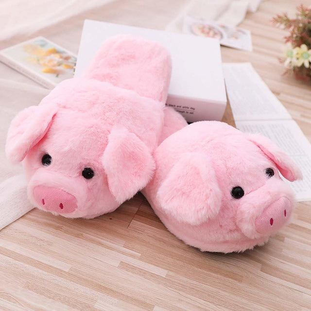 Millffy cute Lovely Women Flip Flop Cute Pig Shape Home Floor Soft Stripe Slippers Female Shoes Girls Winter Spring Warm Shoes