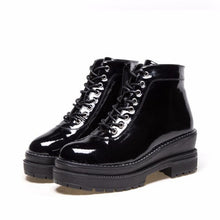 COOTELILI Plus Size Black Ankle Boots Women 6cm High Heels Leather Shoes Woman Winter Autumn  Flat Platform Boots Women 35-40