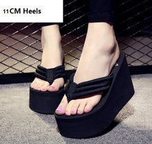 2018 New Arrival Women Chunky Sandals High Heels Wedges Flip Flops Lady Pure Color Water Taiwan Summer Shoes Plus Size 40 41