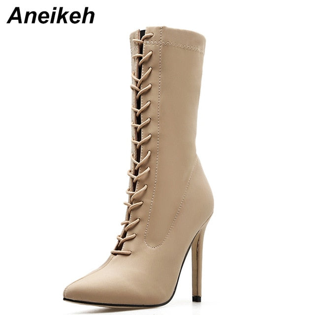 Aneikeh New Boots Women 2018 Autumn Fashion Ankle Boots Pointed Toe Stiletto Heel Shoes Stretch Lace-up High Heel Botas mujer