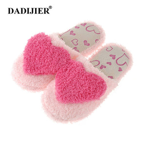 DADIJIER 2018 Indoor Slipper Cotton Linen Home Shoes Women Flat  Breathable Soft Floor Love pattern Autumn Winter Slippers ST218