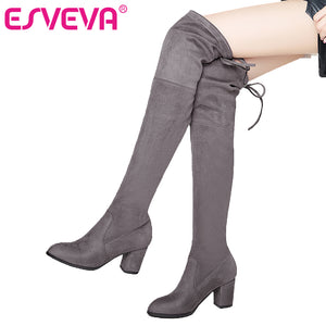 ESVEVA 2018 Over The Knee Boots Flock Winter Round Toe Women Boots Ladies Lace Up Stretch Fabric Fashion Boots Big Size 34-43