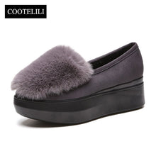 COOTELILI Winter Women Shoes Loafers Plus Size Creepers Flat Platform Fleece Shoes Slip On Flat Fur Shoes For Female Moccasins
