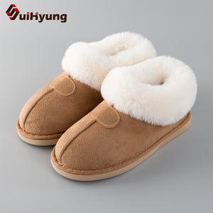Suihyung Women Winter Warm Cotton Shoes Flats Home Plush Slippers Patchwork Fake Fur Indoor Floor Shoes Female Bedroom Slippers