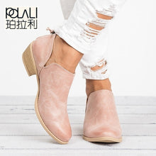 POLALI 2018 Spring Autumn Women Butterfly-knot Chelsea Boots Slip-On Med High Heels Pointed Toe Shoes Woman