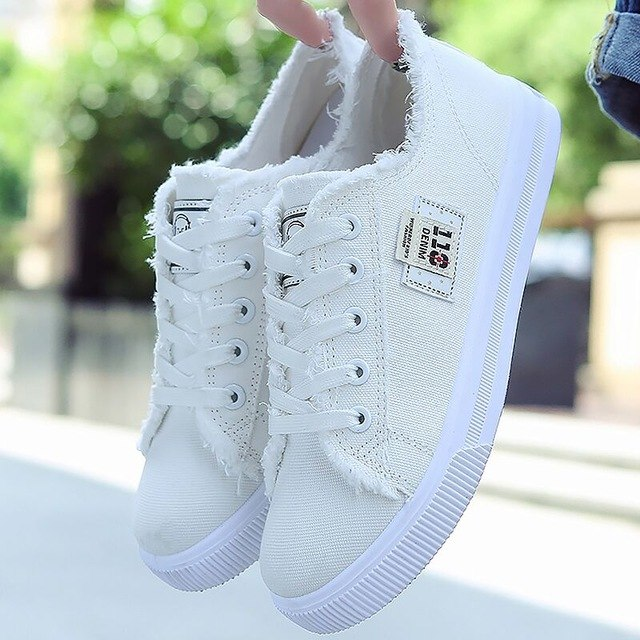 Canvas Flats Shoes Women Casual Flats Lace-up Canvas Shoes Fashion Female Spring/Autumn Flats Shoes Solid White Canvas Shoes