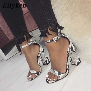 Eilyken Women Ankle Strap Sandals Snake Print Square heel Fashion Pointed toe Ladies Fashion shoes 2019 New Women Sandals