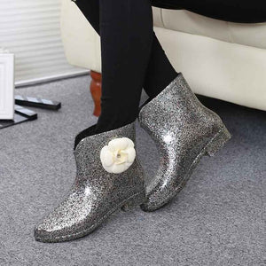 Women Ankle Boot Flower Bowtie Spring Winter Rain Boots Female Waterproof Platform Baby Rain Shoes Ladies Comfort Footwear