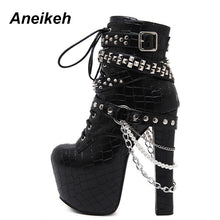 Aneikeh Zip Metal Chains Rivet Motorcycle Boots Women Shoes Super High Heels Platform Ankle Boots Punk Rock Gothic Biker Boots