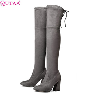 QUTAA 2018 Women Over The Knee High Boots Short Plush Inside Keep Warm Winter Fashion Sexy Hoof Heels Women Boots Size 34-43