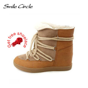 Smile Circle 2018 Winter Shoes For Women Lace-up Wedge Boots Women's High heel Elevator Shoes Ankle Boots Warm Plush Snow Boots