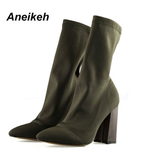 Aneikeh 2019 Army Green Stretch Knit Ankle Boots Heels Women Square Heel Short Booties Pointed Toe 8.5CM High Heels Shoes TB-1