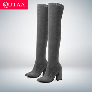 QUTAA 2019 Women Over The Knee High Boots Fashion All Match Pointed Toe Winter Shoes Elegant All Match Women Boots Size 34-43