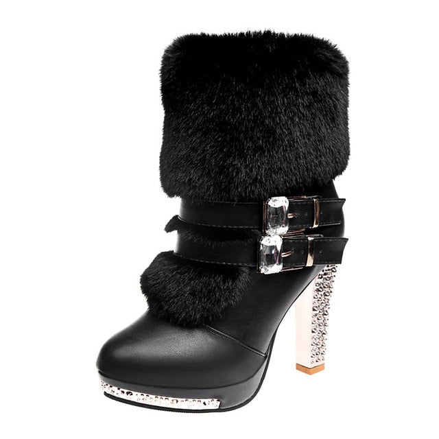 Xiaying Smile Women High end Boots Super High Fashion Warm Double Buckle Faux Fur Crystal Casual Shoes Thin Heels Ladies Boots