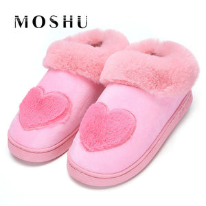 Winter Warm Cotton Shoes Lovers Couple Soft Heart-Shaped Slippers Comfort Home Shoes for Woman Plush Indoor Floor Bedroom
