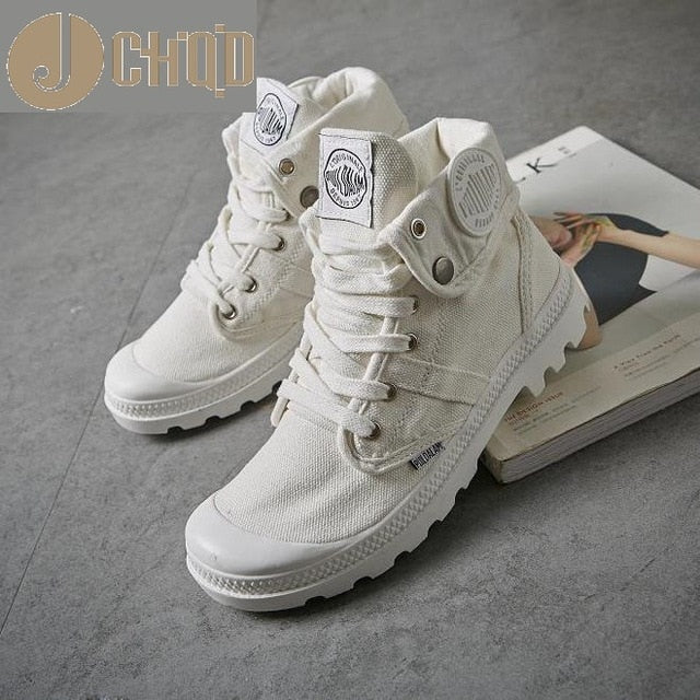 JCHQD 2018 Fashion High Top Sneakers Canvas Shoes Women Casual Shoes White Flat Female Basket Lace Up Solid Trainers Chaussure