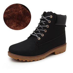 Arsmundi Autumn And Winter Unisex Martin Boots Women Lace-Up Mens Shoes Plush Warm  Fashion Casual Couple Rubber Ankle Boots