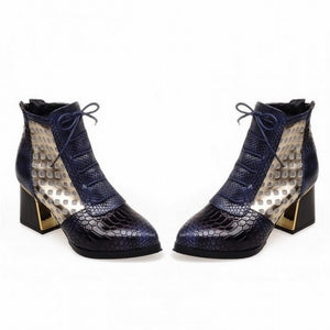 WETKISS Fashion Ankle Boot Snake Print Cross tie Hoof High Heels Short Boots Pointed toe Spring Boots Shoes Spring Woman Shoe