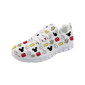 Twoheartsgirl Fashion Women Sneakers Printed Cute Cartoon Mouse Flat Shoes Casual Lace Up Female Ladies Mesh Shoes Zapatos plus
