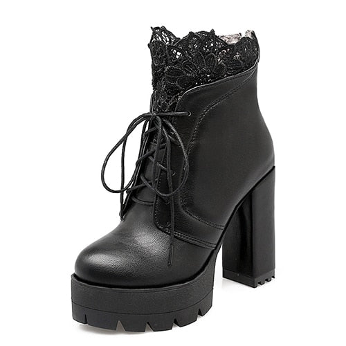 Gdgydh 2019 Autumn Women Lacing Platform Boots High Heels Female Black Platform Heels Spring Short Boots Ladies Shoes for Party