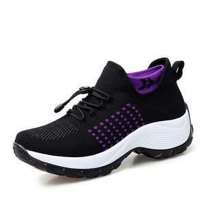STQ 2019 Spring women flat platform sneakers for women breathable mesh black sneakers shoes ladies laces for sock sneakers 1855