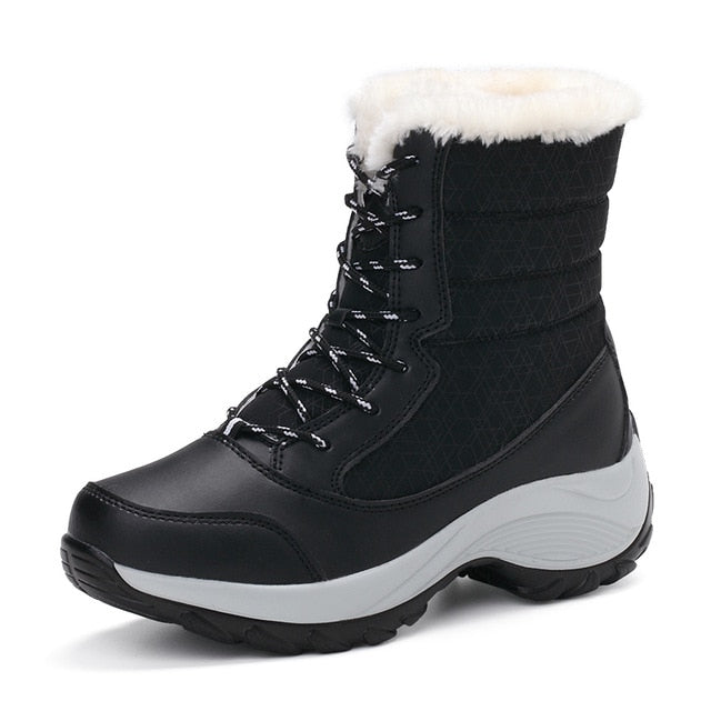 STQ 2019 Winter Women Snow Boots Mid-Calf Platform ankle boots women high warm fur plush rain boots for women hiking boots 1617
