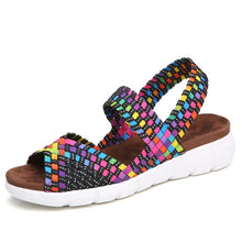 STQ 2019 women flat sandals shoes women woven wedge sandals shoes ladies beach summer slingback sandals flipflops shoes 802